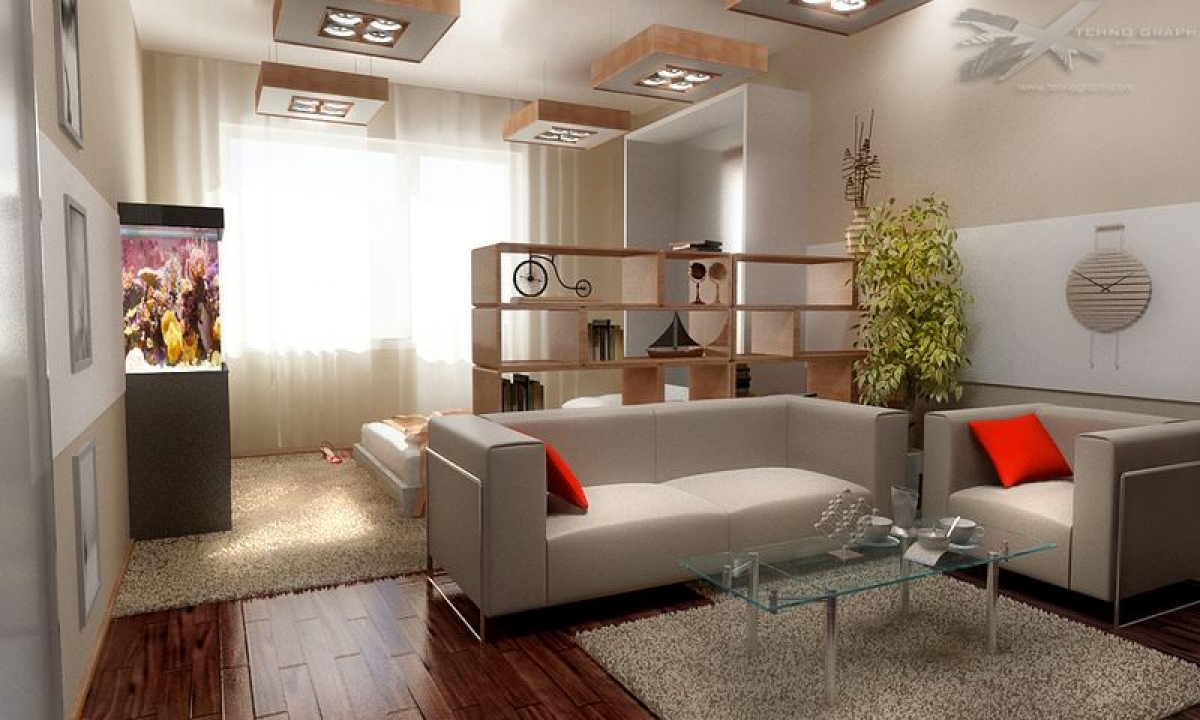 Дизайн комнаты в однокомнатной